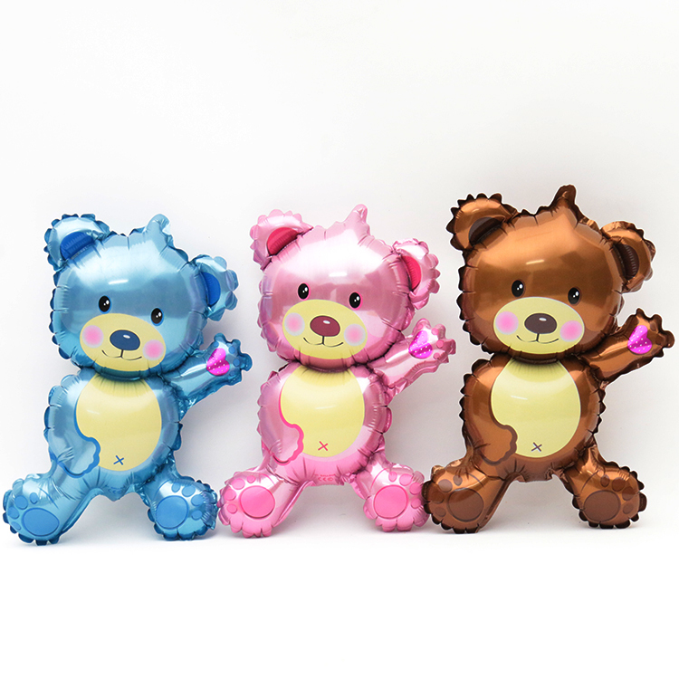 blue&pink&gray cute dancing bear baloon birthday party decoration air balloon wedding baby toy - Amelia's supplies store