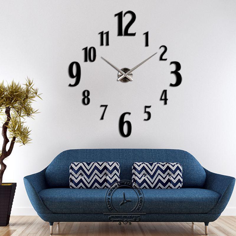 Brand large diy quartz 3d wall clock big acrylic watch mirror stickers modern design home decor living room