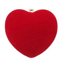 2016 Bridal Flannel Red Heart Shape Evening Bag Women Peach Heart Diamond Day Clutch Purse Wedding Messenger Bag Handbag XA296D(China (Mainland))
