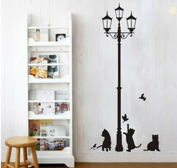 Free shipping popular ancient lamp cats and birds vinyl removable wall sticker wall mural home for Stickers para dormitorios