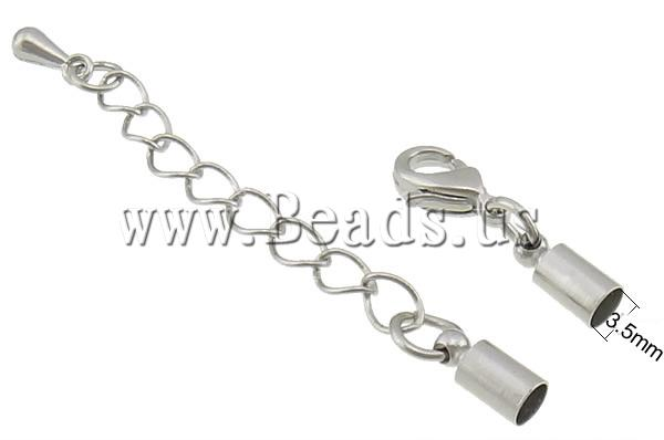 Free shipping!!!Brass Lobster Claw Cord Clasp,Designer, with 1.8Inch extender chain, platinum color plated, nickel