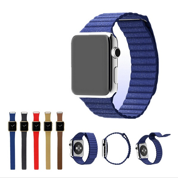 100% Real Genuine loop leather wristband for apple watchband 38mm 42mm band straps of smart watch band with metal clip adapter(China (Mainland))