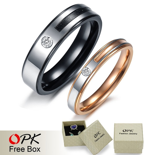 OPK JEWELRY Romantic stainless steel Promise Rings 18K rose gold plated & black Fashion Couple Ring inlaid CZ diamond 366