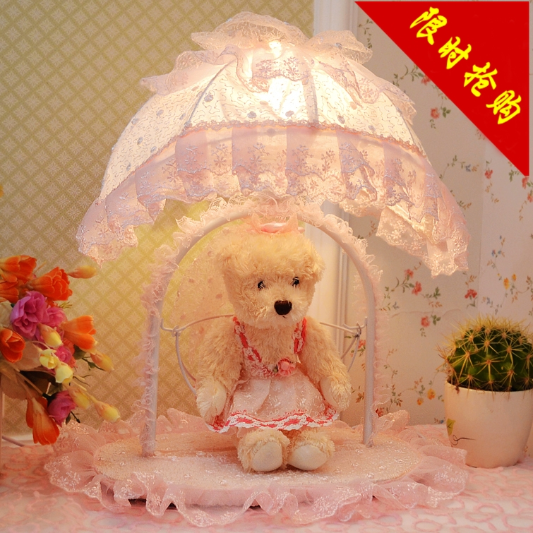Real d child bedside pink princess bear decoration small luminaire gift(China (Mainland))