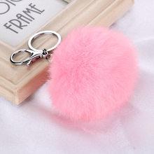 Niedliche Flauschige Echt Kaninchen Fell Ball Pompon Schlüssel Kette Für Frauen Hase Pelz Pom Pom Keychain Weibliche Tasche Auto Charme schmuckstück Hochzeit Geschenk(China)