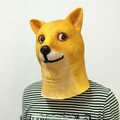 Hot Super Creepy Funny Head Doge 3D Latex Mask Cosplay Halloween Costume Party Halloween Decorations free