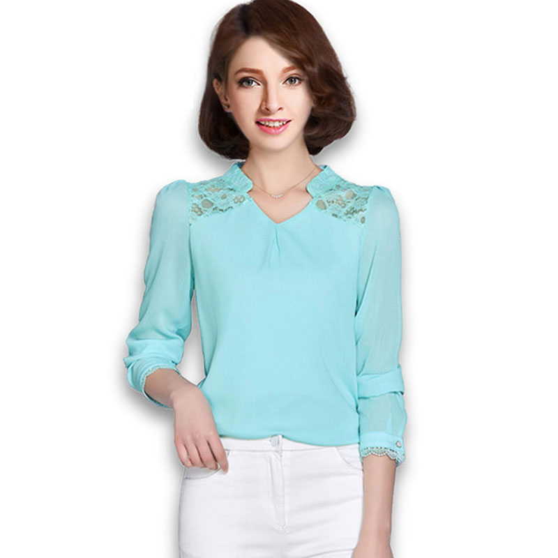2016 Plus Size Fashion Women Lace Patchwork Chiffon Blouses Shirt Spring Ladies Long Sleeve Office Tops Crochet Clothing(China (Mainland))