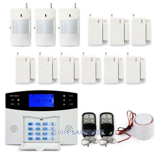 HOMSECUR High Sensitivity GSM Sms Home House Alarm System Lcd Screen + Sensors Pir*3 + Door/window*9+ Remote*2(China (Mainland))