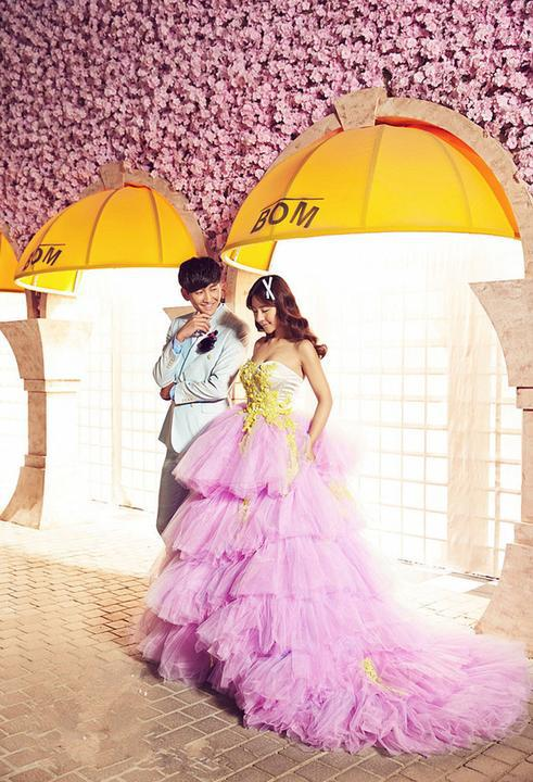 2015 New Design Pink Train Wedding Dress Party Pageant Ball Gown Photo Studio Wedding Dresses(China (Mainland))