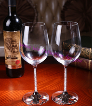 Free shipping 2 pc per set grace delight new design luxury crystal red wine glass goblet wedding gifts for newly couple(China (Mainland))