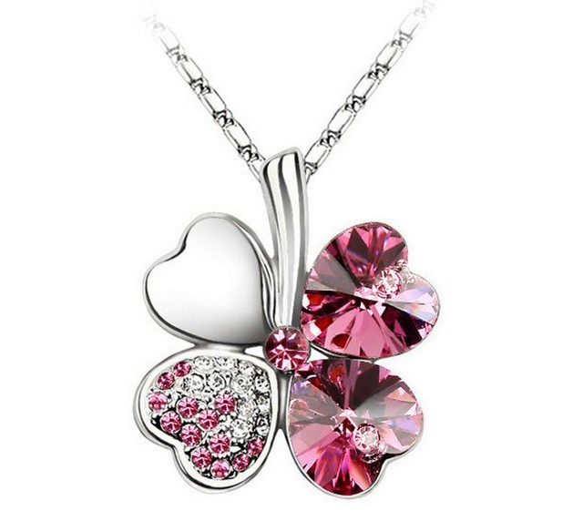 New Arrival Clover Pendant Choker Necklace High Quality Austrian Crystal Fashion Jewelry For Women 6 Pcs/Lot Wholesale