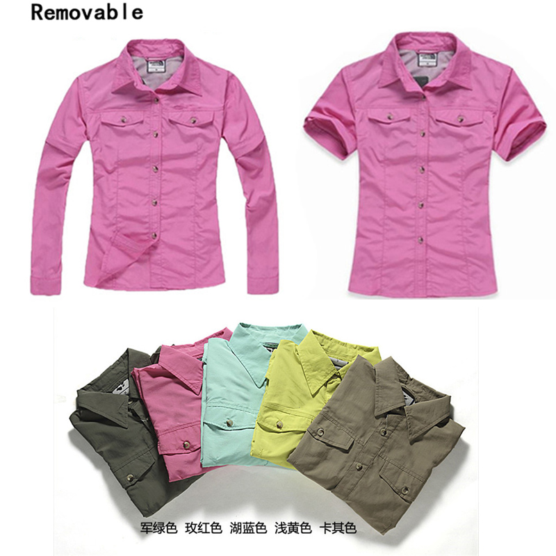 2016 New Women Quick Dry Hiking Shirts Summer Spring Outdoor Sport Shirts Removable Breathable Sunscreen Camping Ski Tops