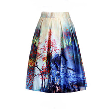 New Fashion Womens High Waist Rockabilly Pleated Fashion Skirts Gradient Color Block Landscape Printed Tutu Ladies Sexy Skirt