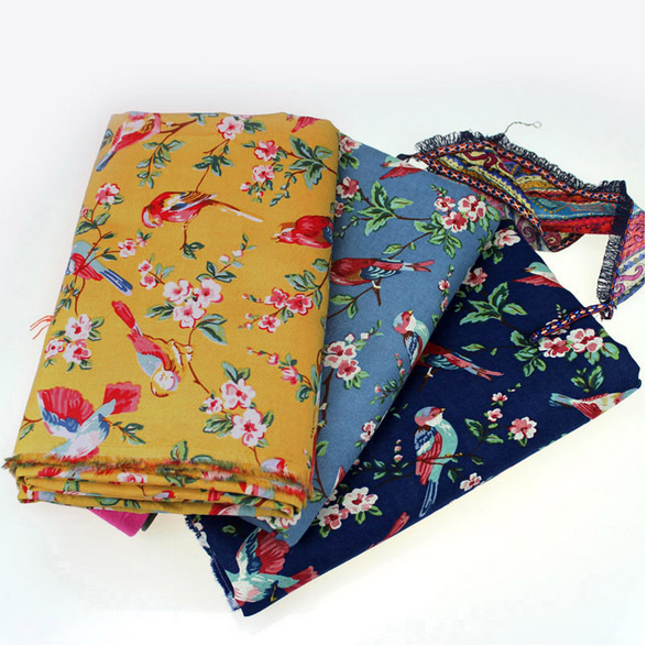 Japanese fall of flowers and birds and wind cloth cotton clothing diy manual curtain antependium country wholesal(China (Mainland))