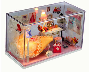 DIY Handmade Wooden Doll House Toys Accessories Furniture Miniature Toy Birthday Gifts Dollhouse(China (Mainland))