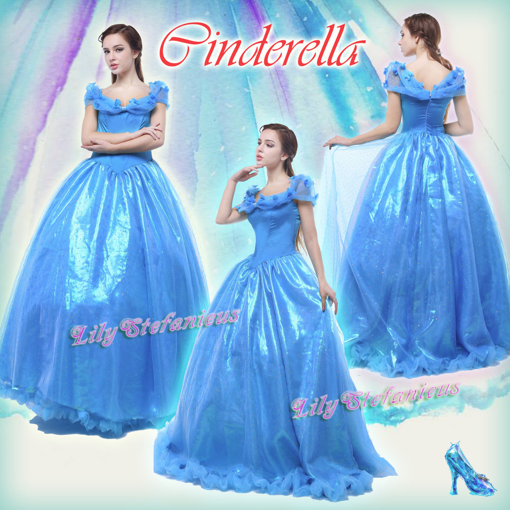2015 Newest Movie Cinderella Dress Cosplay Costume Girl Blue Princess Dress Halloween Party Stage Bustle Free ShippingОдежда и ак�е��уары<br><br><br>Aliexpress