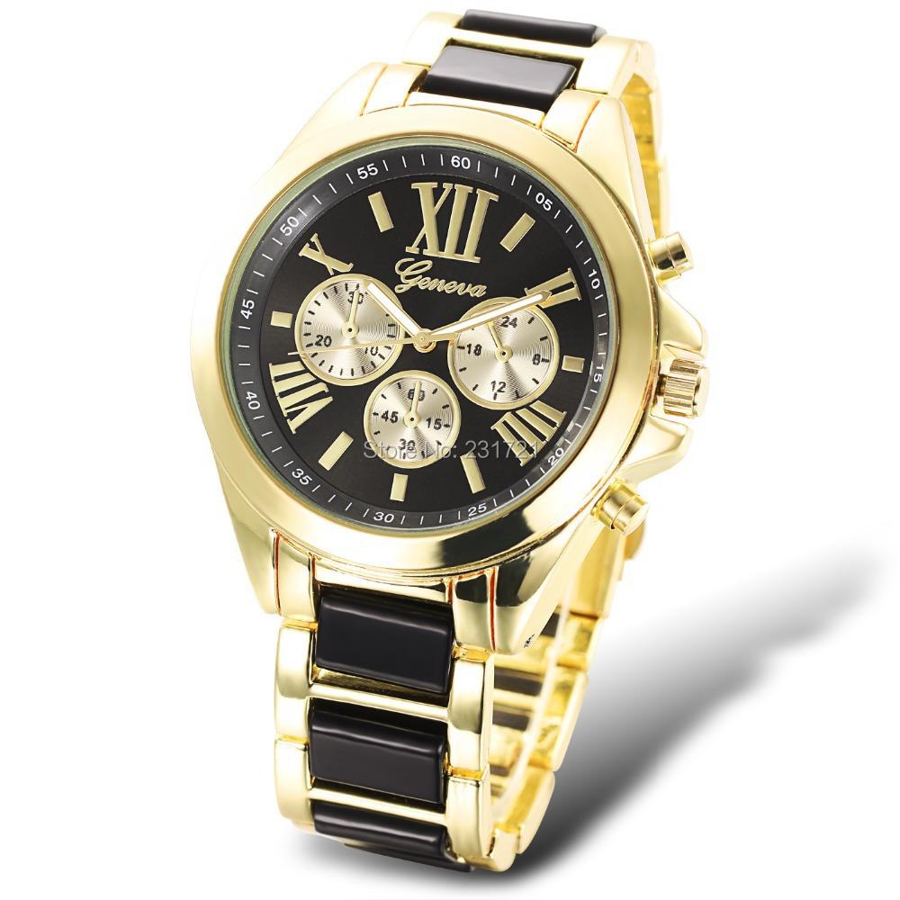 2015 Casual Watch Geneva Unisex Quartz Watches Women Analog Wristwatches Full Stianless Steel Watches Relogio Feminino(China (Mainland))