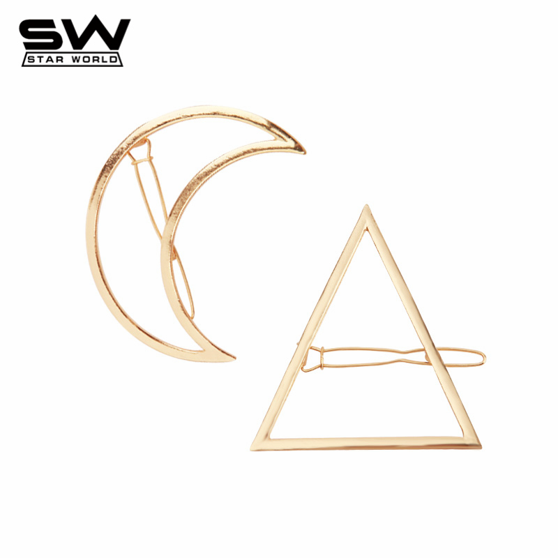 STARWORLD Unique Big Star&Moon Triangle Geometric Gold Plated Hairpins Minimalist Simple Hair Jewelry for Women 2016 F025(China (Mainland))