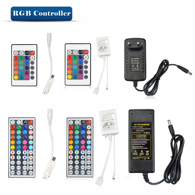 DC12V 24key / 44 key RGB IR Remote Controller /3A / 5A Power supply Adapter For LED Strip light Accessoires SMD 5050 3528(China (Mainland))