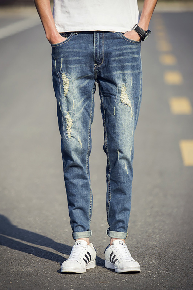 Flared Ripped Jeans - Jeans Am