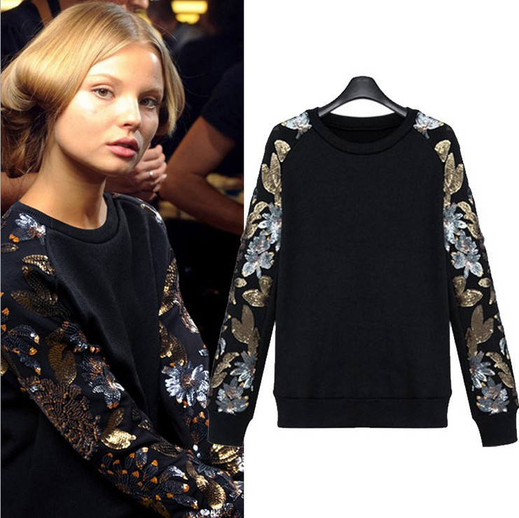 acheter 2015 nouveau automne hiver femmes sweatshirts polaire pull paillettes. Black Bedroom Furniture Sets. Home Design Ideas