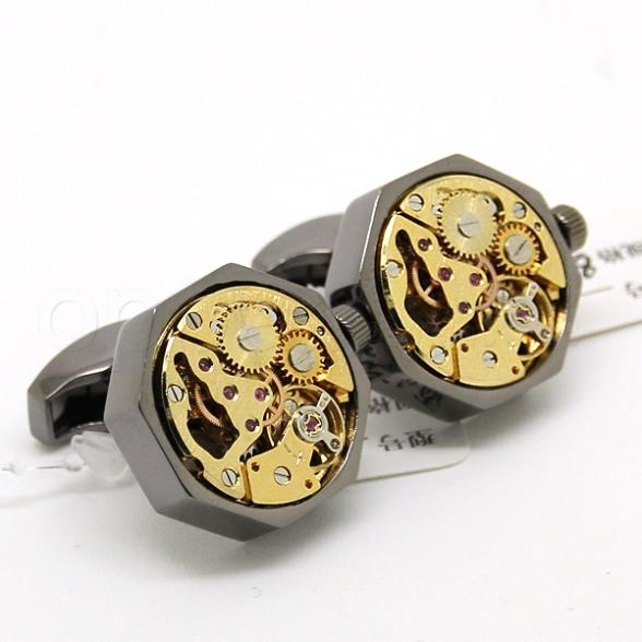 Watch cufflinks black shell and gold movement octagonal for Men s jewelry box for watches and cufflinks