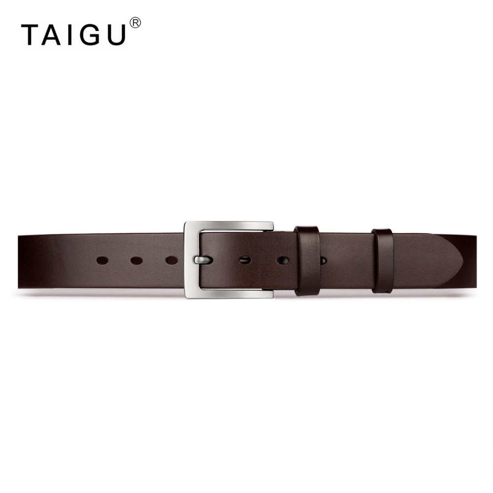TAIGU Men Belt Fashion Solid 100% Italian Cow Leather Belt 3.8CM Width Metal Pin Buckle Lowest Price For 7 Days Only(China (Mainland))