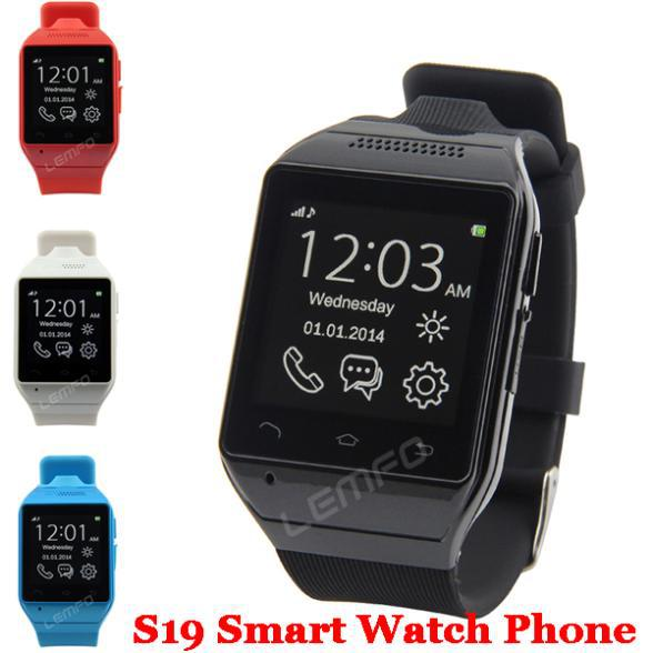 """Smart Watch S19 Bluetooth SmartWatch Cell Phone 1.54"""" Touch Screen 2MP Camera TF GSM SMS FM Sync Android OS Hands free New 2015(China (Mainland))"""