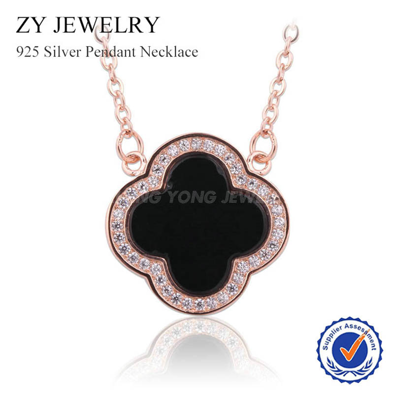 Black Agate Four Leaf Clover Necklace High Quality 925 Silver Pendant Necklace for Women(China (Mainland))
