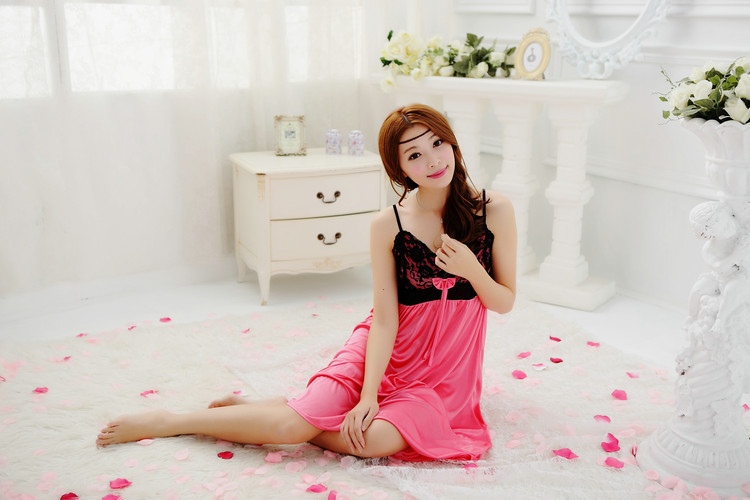 Womens Sexy Sleepshirts Deep V-Neck Princess Nightgowns Ladies Sweet Lace Sling Lingerie Home Wear Clothing Color White Red