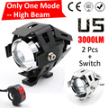One Mode Hgih Beam 2 PCS 125W 2 Color Motorcycle Motorbike Headlight 3000LM U5 LED Driving