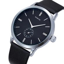 2015 New Ultra-thin Quartz Watches for Men luxury brand NORTH Leather Strap Mannen beroemde merk horloges men's Military Watch