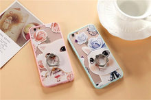 Korea cute cat mobile phone shell For Apple 6plus ring buckle bracket shell female couple iphone6s DROP