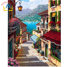 HOME BEAUTY oil paint painting by numbers diy picture drawing coloring on canvas painting by hand wall paint landscape J018(China (Mainland))