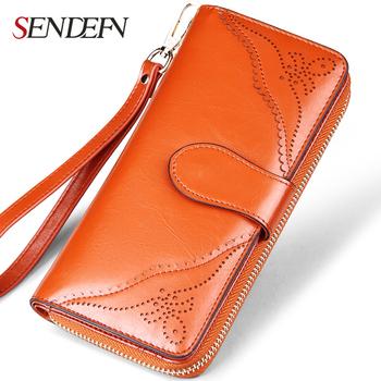 SENDEFN Vintage Genuine Leather Women Wallets Long Zipper Coin Pocket Purse Phone Wallet For Women Card Holder Lady Clutch