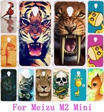 Милые животные шаблон лев тигр сова роспись защитный пластиковый чехол для Meizu м2 мини 5.0 дюймов телефон чехол капа Carcasa мешок