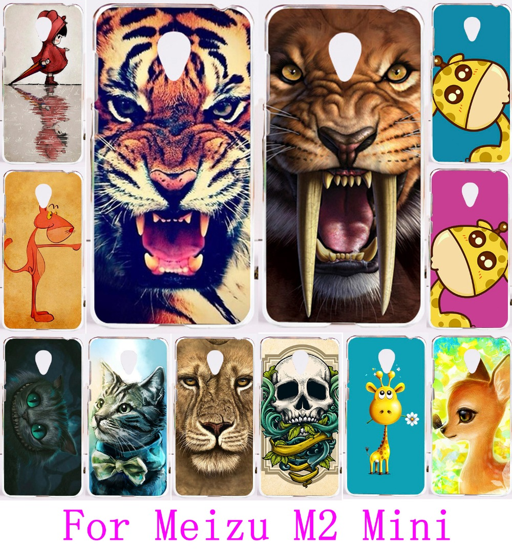 Cute Animal Pattern Lion Tiger Owl Painted Protective Plastic Case For Meizu M2 Mini 5.0 inch Phone Cases Cover Capa Carcasa Bag(China (Mainland))