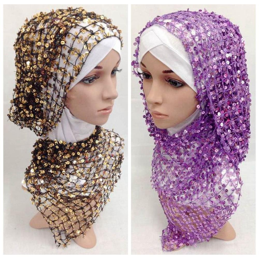 Muslim Paillette long scarf fashion 55*160cm(China (Mainland))