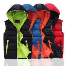 2015 New Fashion Hooded Waistcoat Men Sleeveless Jacket Thick Warm Cotton Winter Hooded Vest Lovers Casual XXL Free Shipping(China (Mainland))