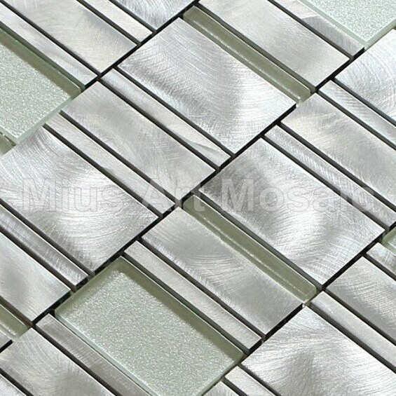 [Mius Art Mosaic] Silver tile aluminium alloy mosaic kitchen mosaic  white  glass tile A1MLC010<br><br>Aliexpress
