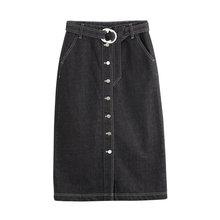 Toyouth lato jednorzędowe przycisk Hip spódnice szczelina Jeans płaszcz kurtki damskie topy skręcić w dół kołnierz krok Denim spódnica szczupła kobieta Lady Sashes długi spódnica(China)