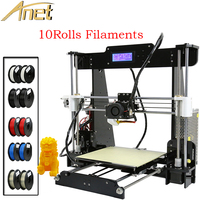 Discount!!! 10Rolls filament+Anet A8 personal 3d printer Kit diy Precision Reprap Prusa i3+Aluminum Hotbed+8GB Card +LCD Screen
