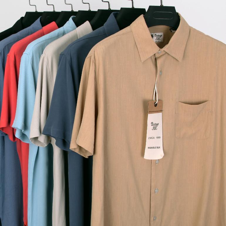 Father husband silk short sleeve loose large size men 39 s for Silk short sleeve shirt
