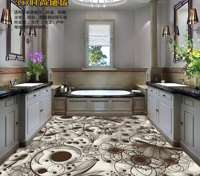 customize Simple lines Lily flowersFashion design 3d flooring wallpaper mural 3d floor tiles kitchen pvc vinyl flooring(China (Mainland))