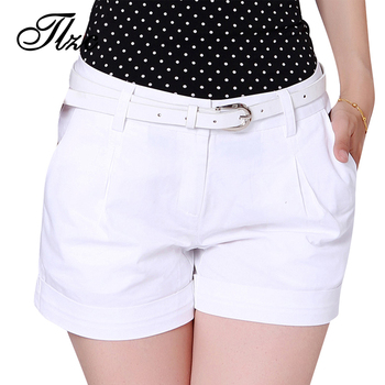 TLZC Korea Summer Woman Cotton Shorts Size S-2XL New Fashion Design Lady Casual Short Trousers Solid Color Black / Khaki / White