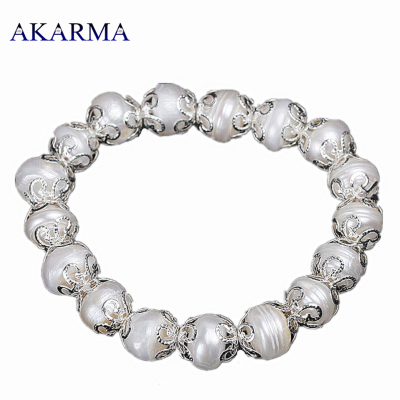 Akarma Bracelet Natural Cultured Pearl Bracelets For Women Concise Friendship Bracelets Summer Jewelry pulseras mujer Birthstone(China (Mainland))