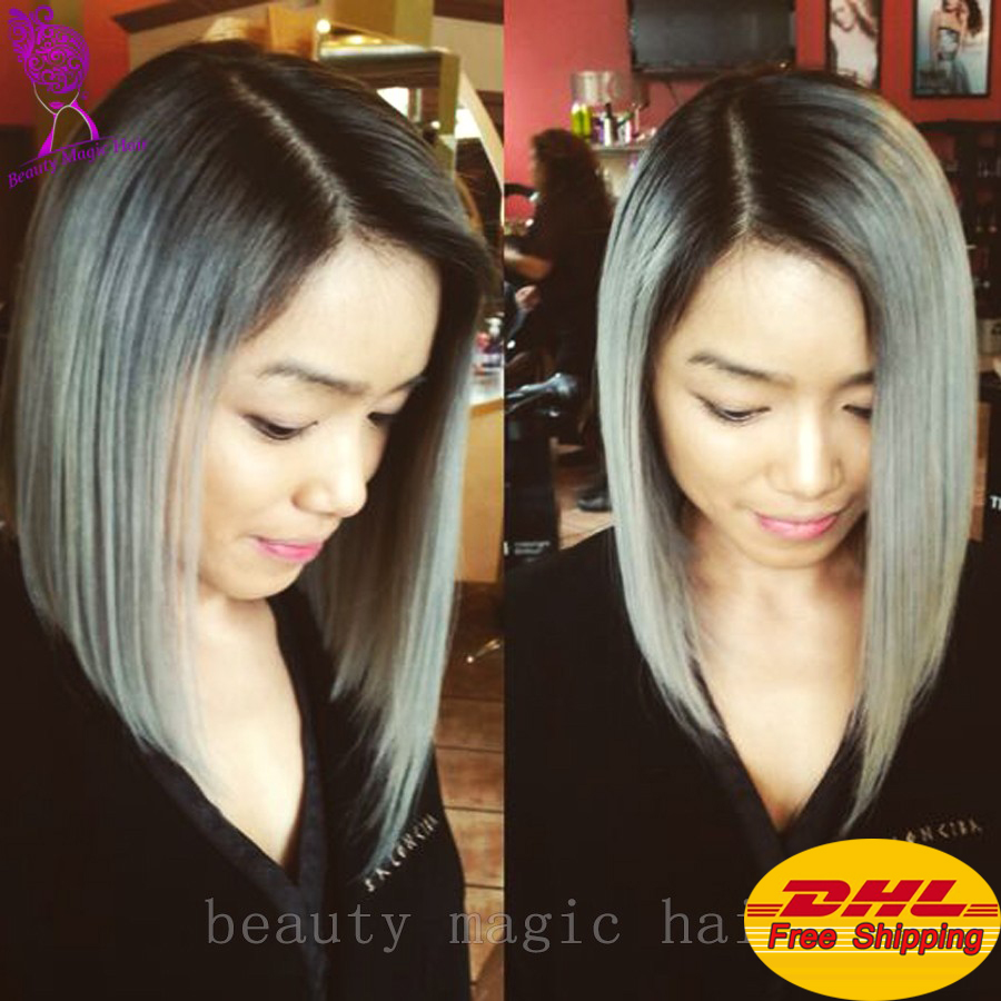 Top Quality Grey Bob Lace Front Wig Silver Ombre Rooted Synthetic Wigs Heat Resistant Synthetic Hair For Women Free shipping(China (Mainland))