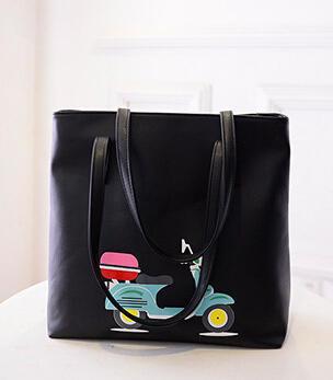 Women Bag 2015 New Arrival Cute Cartoon Bag Printed Car Handbags Big Tote Bag Large Capacity Shopping Bag bolsa feminina A466(China (Mainland))