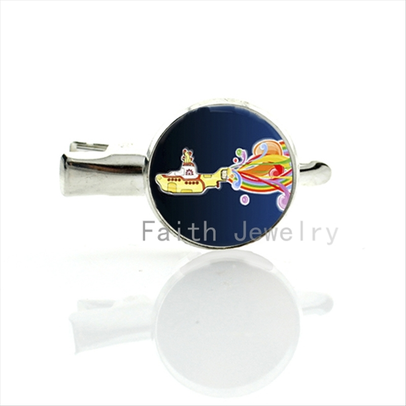 Cute Beatles Yellow Submarine Round Glass dome hairgrips exquisite good quality Hand made women & girls lovely hair jewelry T155(China (Mainland))