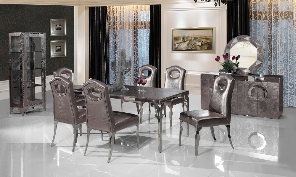 stainless steel Dinning table with dining room set with 6 chairs, leather wine cabinet,leather dining sideboard,mirror # CT107(China (Mainland))